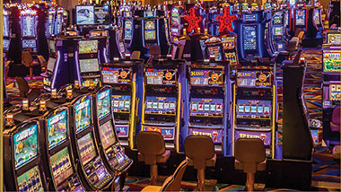 Slot machines on gaming floor