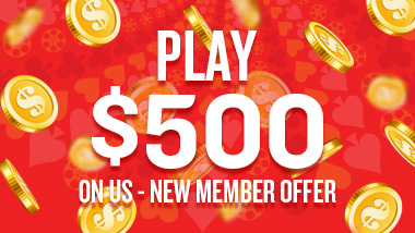 "Gold coins on a red background with the words ""Play $500 on us - new member offer."""