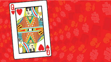 A card showing the queen of hearts on a red swirled background.