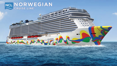 "Norwegian Cruise Line logo and the cruise ship ""Encore"" on the ocean"
